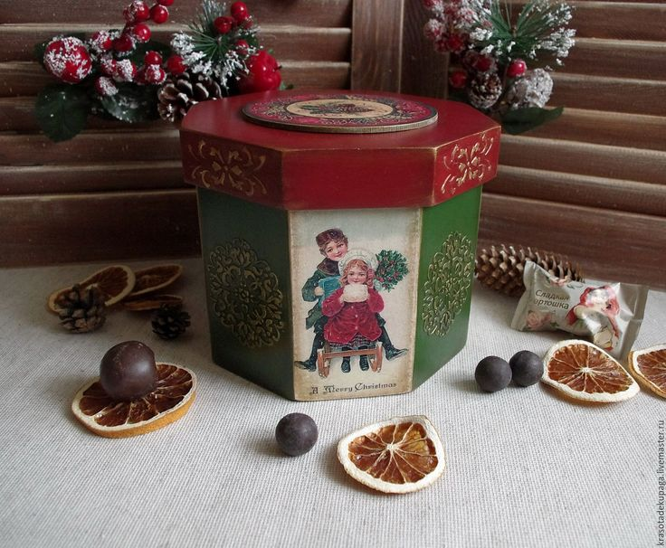 """Купить Короб рождественский """"Винтаж"""", декупаж - комбинированный, короб для хранения, Новый Год, новогодний декор"""