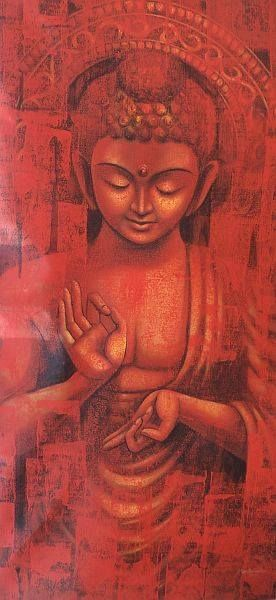The Enlightened One by Madhusudhan, Acrylic On Canvas, 60x30 inches