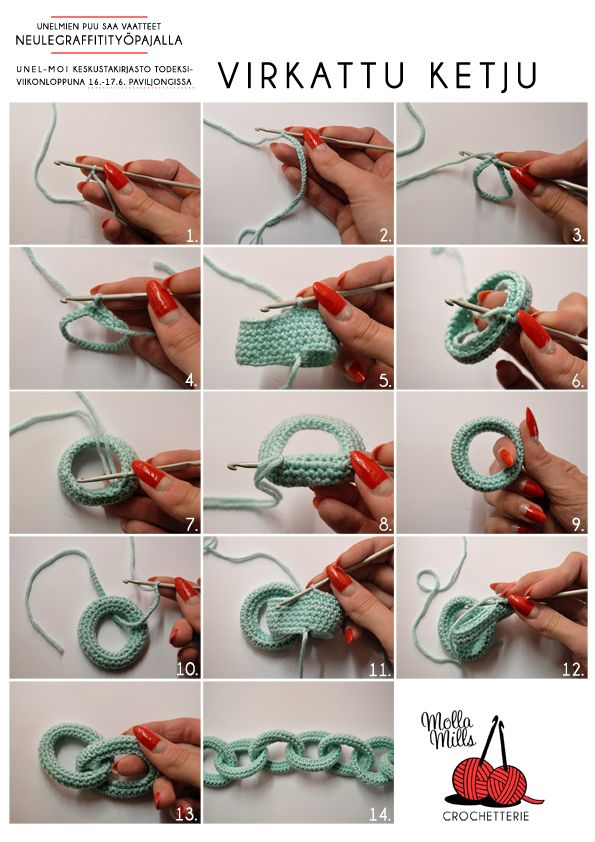 Demonstrates how to make yarn chain