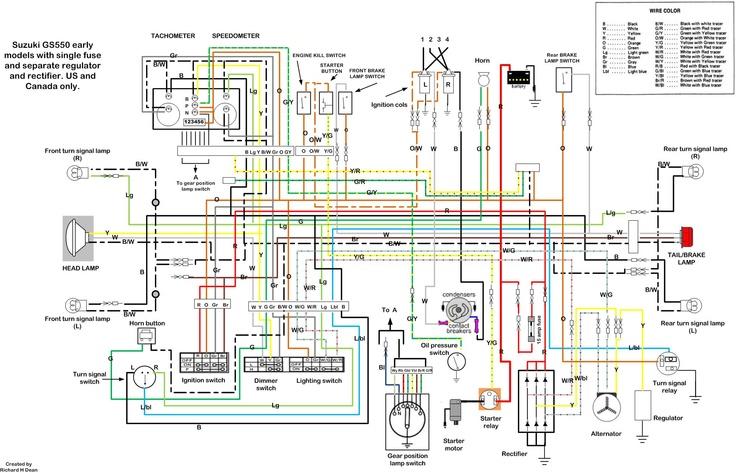 Suzuki Gs550 wiring diagram | Motorsports | Motorcycle wiring, Electrical wiring diagram