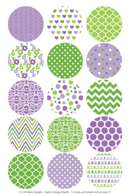 Purple and Green Digital Bottle Cap Images – Erin Bradley/Ink Obsession Designs