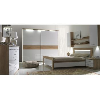 Set Dormitor Manhattan complet, modern  Culoare: Stejar Nebraska / Alb lacuit. Material: Pal melaminat.