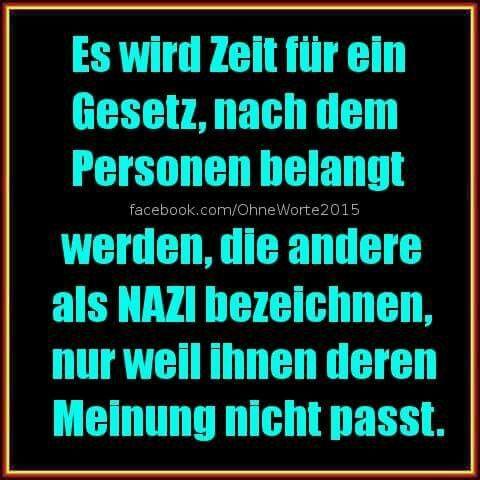 Es wird Zeit für ein Gesetz, nach dem Personen belangt werden, die andere als Nazis bezeichnen, nur weil ihnen deren Meinung nicht passt.