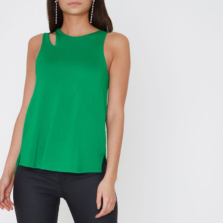 Z2018  Bright green cut out loose fit vest