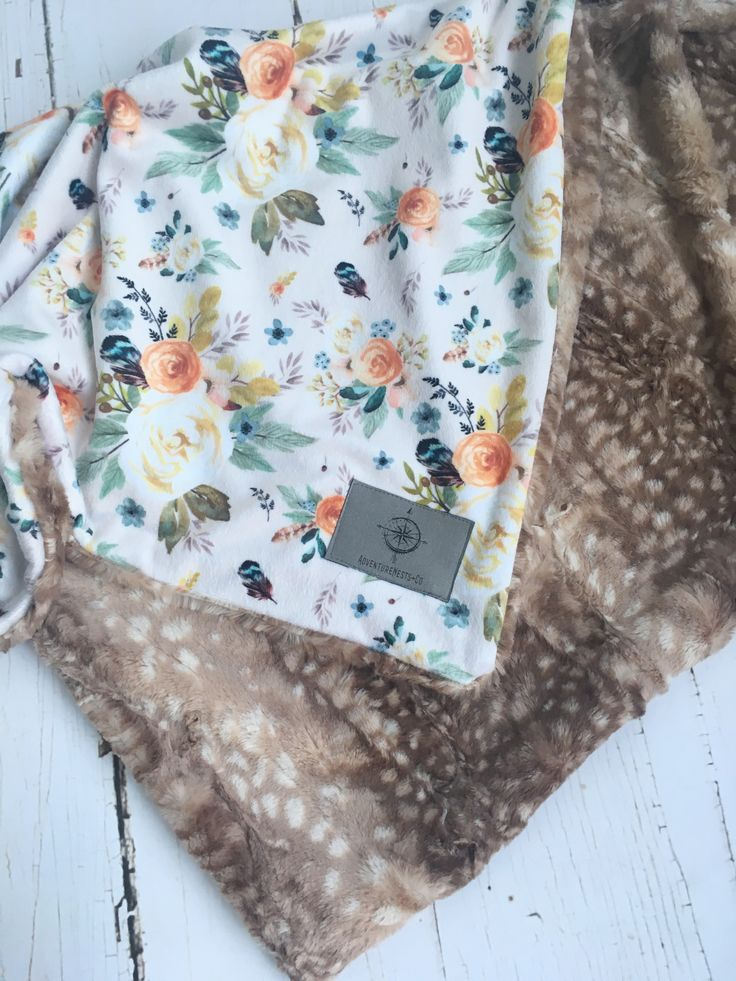 Vintage floral with Fawn baby blanket minky