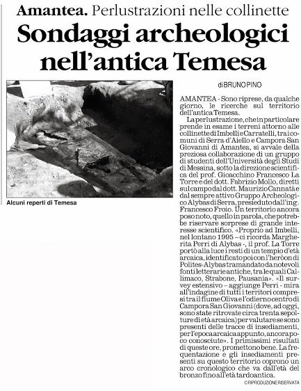 """Il Blog di Bruno Pino: """"Alla Ricerca di Temesa"""". Riprendono le perlustrazioni sui territori di Serra D'Aiello e Campora di Amantea"""