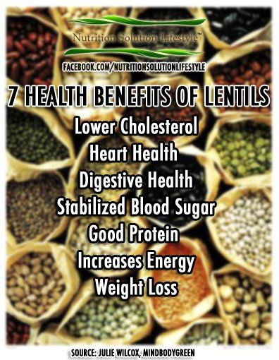 """7 Health Benefit of LENTILS:  I frequently add lentils to soup, stew or sauces in order to get the added protein that they provide.  They make a good """"filler"""", meld in with other ingredients, and don't take away from the taste of the recipe."""
