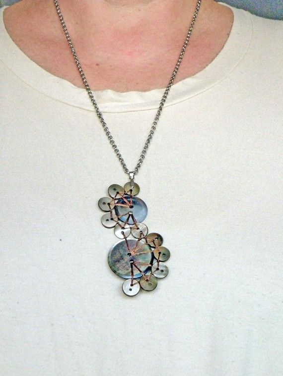 Dark Mother of Pearl Button Pendant Necklace: The por P8ButtonArt