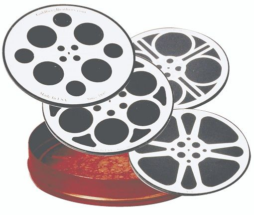 "HTD Canada Movie Reel Coaster Set Movie Reel Coaster Set Set of four different reel designs laser etched on actual 3-1/2"" aluminum film reel slugs produced during the reels manufacturing process. Coasters are then anodized and include a rubber back for non-slipping, and are shipped with one half on an authentic Goldberg 200' shipping can to use as a holder for the coasters"