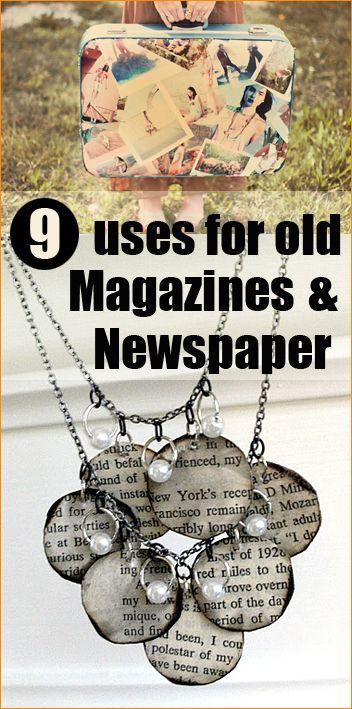 9 Uses for Magazines and Newspaper * das sind grad die besten beiden Ideen, nicht mehr klicken