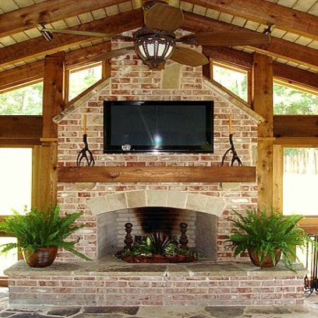 Fireplace home screened porch pinterest - Outdoor fireplace with tv ...
