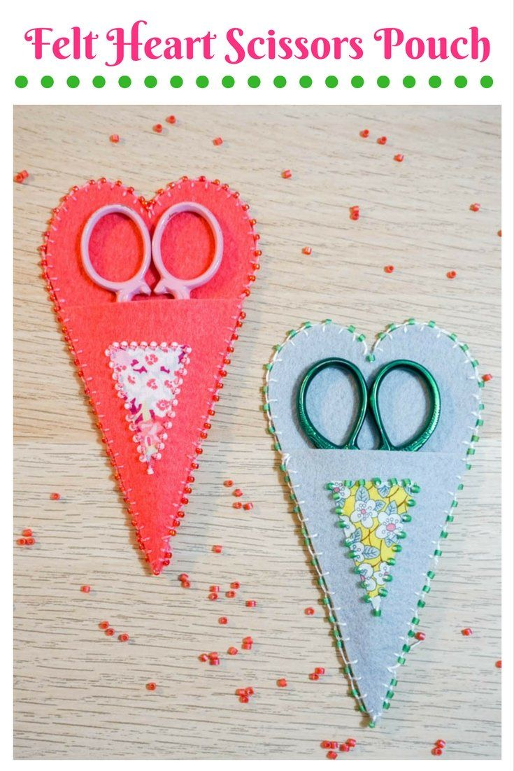 This sweet Felt Heart Scissors Pouch is the perfect combination of felt and floral and will keep your embroidery scissors happy.