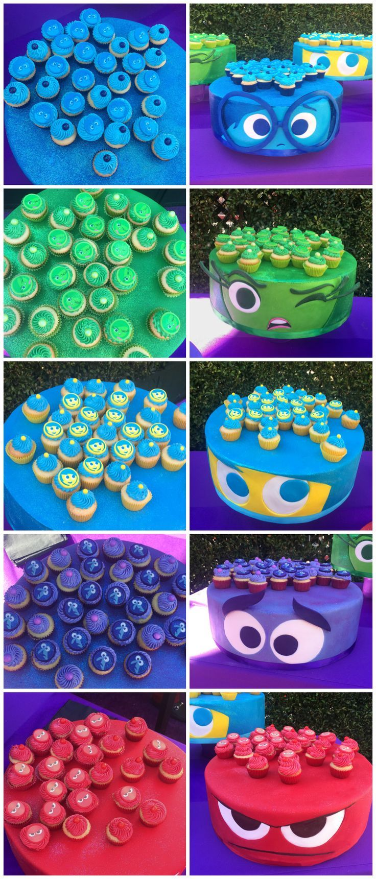 Inside Out Cupcake recipe and display from the Disney Pixar movie with Joy, Sadness, Anger, Fear and Disgust