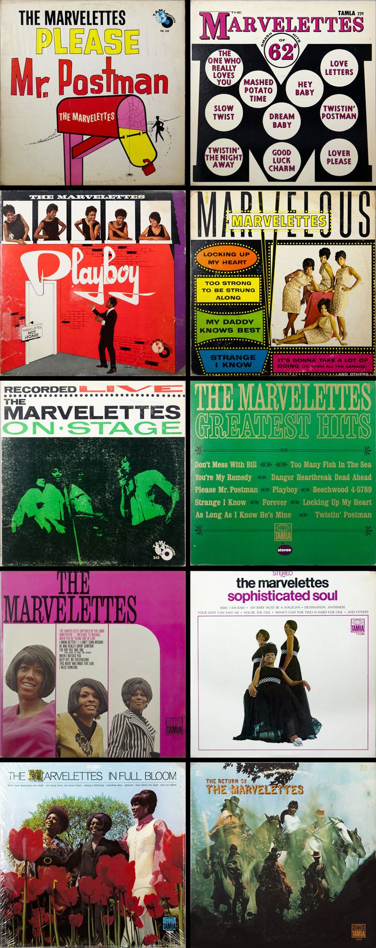 The Marvelettes released 10 albums during their career with Motown. — Please Mr. Postman (1961) • The Marvelettes Sing Smash Hits of '62 (1962) • Playboy (1962)• The Marvelous Marvelettes (1963) • Recorded Live on Stage (1963) • Greatest Hits (1966) • The Marvelettes (1967) • Sophisticated Soul (1968) • In Full Bloom (1969) • The Return of The Marvelettes (1970)
