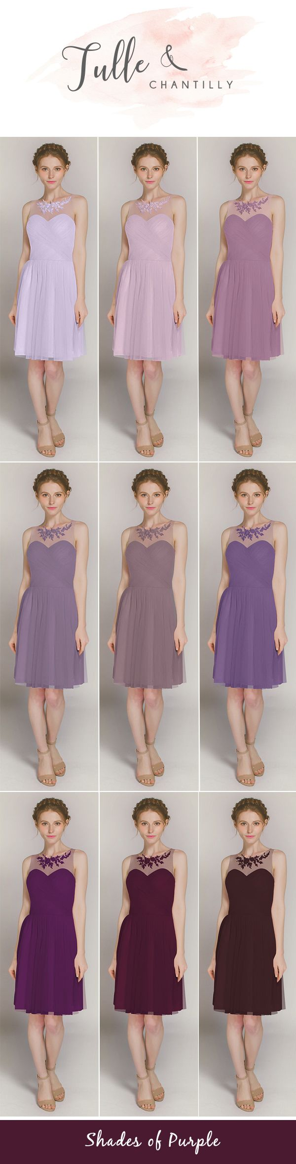 shades of purple short tulle bridesmaid dress with lace details