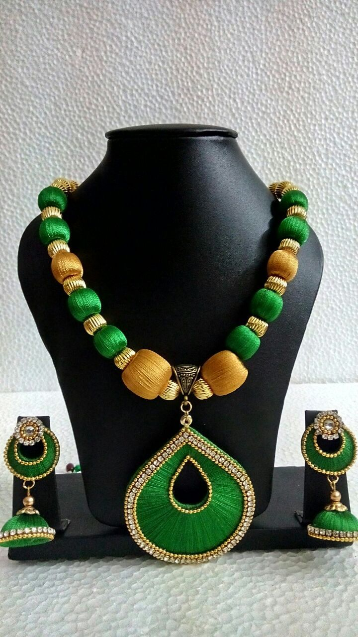 Green and Gold Silk Thread neckset