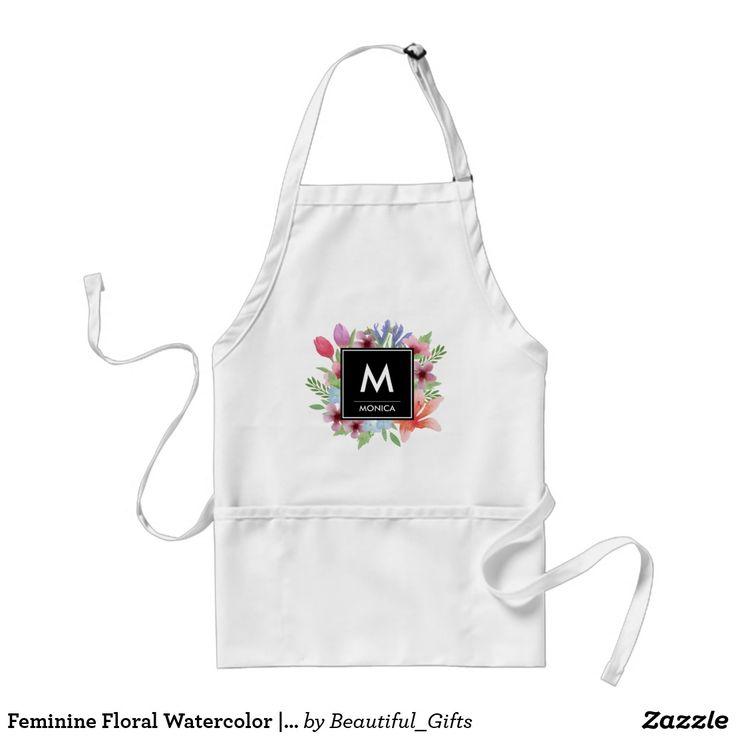 Feminine Floral Watercolor | Custom Monogram Name Adult Apron
