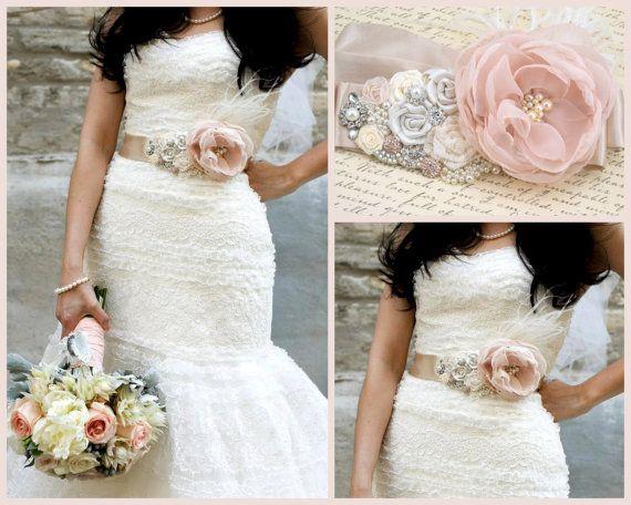 Bridal Sash In Blush Pink Ivory Champagne
