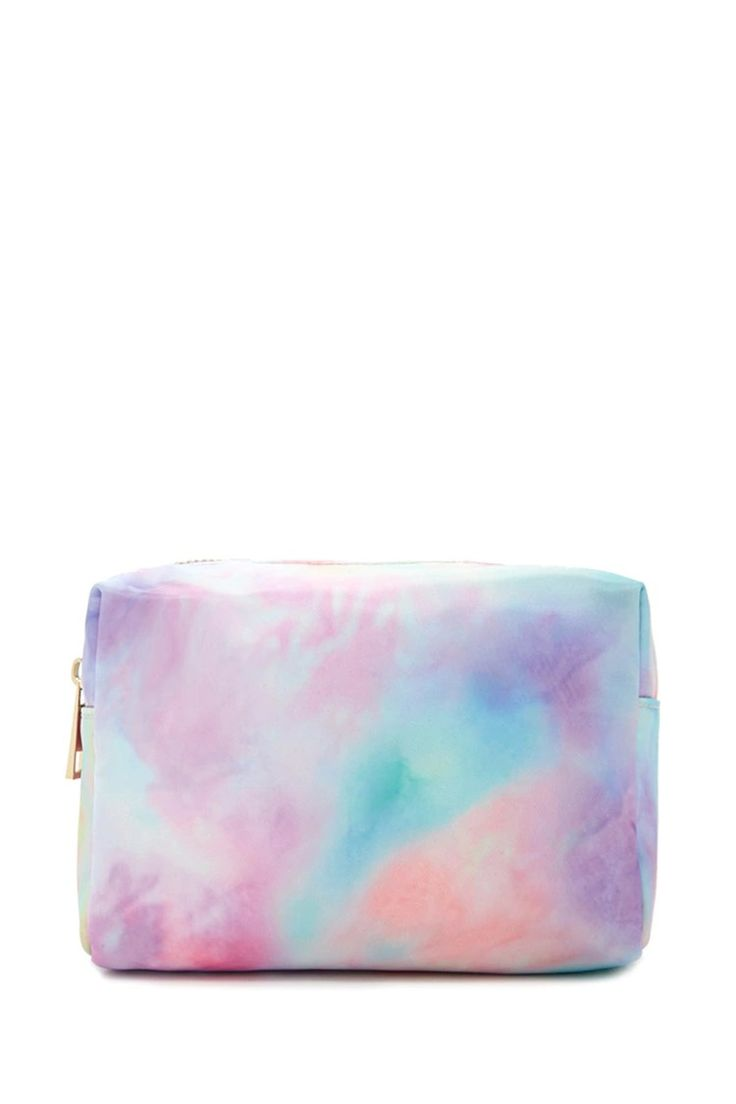 A watercolor printed makeup bag with a zipper top closure.