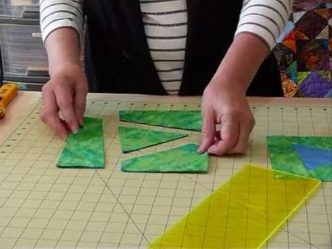 """Como fazer um Bloco Wonky Triângulo começando com 8 """"quadrados - estofar Dicas & Técnicas 049 - YouTube"""