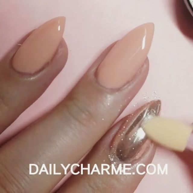 Peachy base color + #ChromePowder = light champagne gold #ChromeNails!  Have you tried our chrome powder over different base colors? Show us your creations by tagging your photos & videos #DailyCharme  . Pre-order Mirror Nails Chrome Magic Powder at DAILYCHARME.COM!