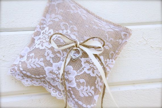 Burlap Ring Bearer pillow  burlap and lace by butterflyabove