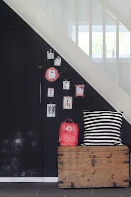 a little chalkboard under the stairs