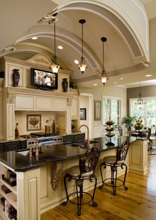 House Ideas...beautiful dream kitchen! Love the cabinets its a shame I don't cook much. guess I need someone to cook for