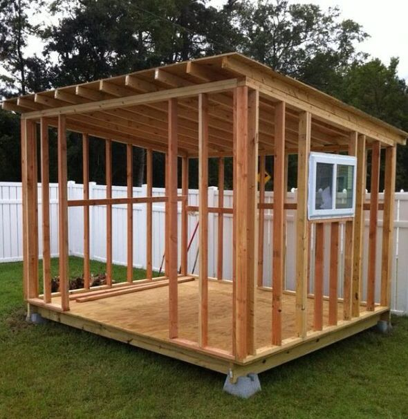 Framing projects pinterest for Sloped roof shed