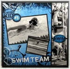 Swim team scrapbook page with black and white photos