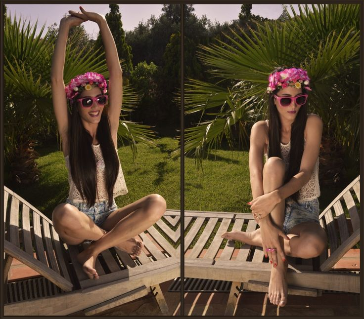 """""""Sounds of laughter, shades of life"""" - FaShionFReaks Swimsuit: Accessorize,Denim shorts: H&M, Lace top:H&M, Rings: Accessorize, Sunglasses: Accessorize, Headpiece:Accessorize"""