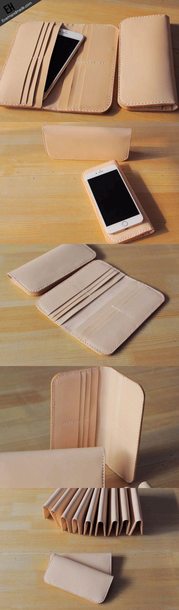 Handmade vintage purse leather wallet long phone wallet clutch wallet beige