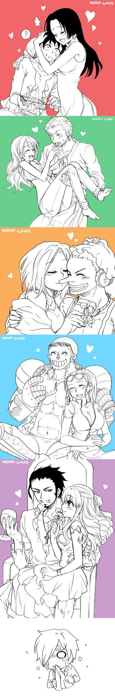 Actually I don't ship Nami x Zoro and Mihawk x Perona but it's hilarious, poor Sanji;;;