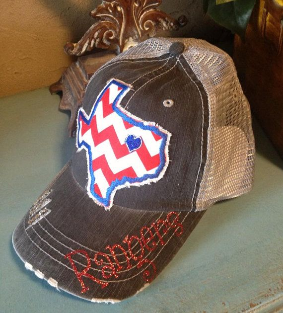 Texas Rangers State Baseball Bling Ladies Womens Trucker Hat on Etsy, $36.00