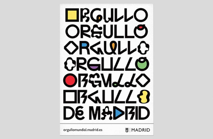 """""""The message that the City Hall wanted to spread around the city was that 'diversity is the Pride of Madrid', 'freedom is the Pride of Madrid', 'rights are the Pride of Madrid', and that 'equality is the Pride of Madrid',"""" says Koln Studio of the brief for its recent campaign. The studio explored the concept through typography and developed a response that celebrated diversity and iconic typefaces of the 20th Century."""