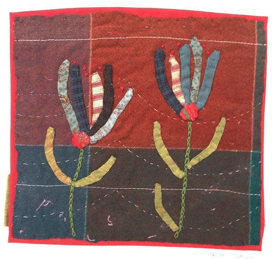 Mandy Pattullo 2 Flowers.Hand Appliqued and Embroidered Textile Collage