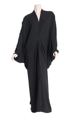 BLACK DIAMOND ABAYA - Our new collection of Classic Black Abayas, a unique diamond cut that drapes beautifully. Can be worn as casual cool and is easily converted to evening glamour with the right accessories.