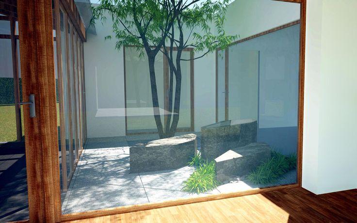 vizualizace malého atria v rodinné vile / visualization of a small atrium in the family villa