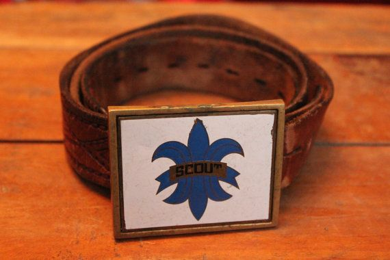 Vintage Brown Leather Belt with Brass Scout by GatherAndDisperse, $19.99