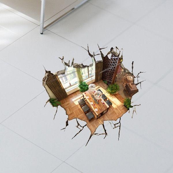 3Д наклейки на стены подвала 23 дюйма Съемный Пол отверстие стены искусства наклейки домашнего декора при вашем заказе на banggood на
