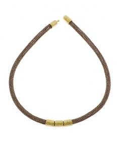 Knitted Necklace - Three 18K Gold Elements