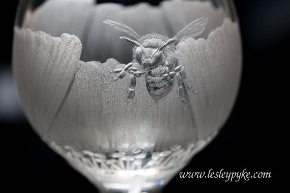 Hand engraved crystal port glass Poppy and bee by LesleyPykeGlass