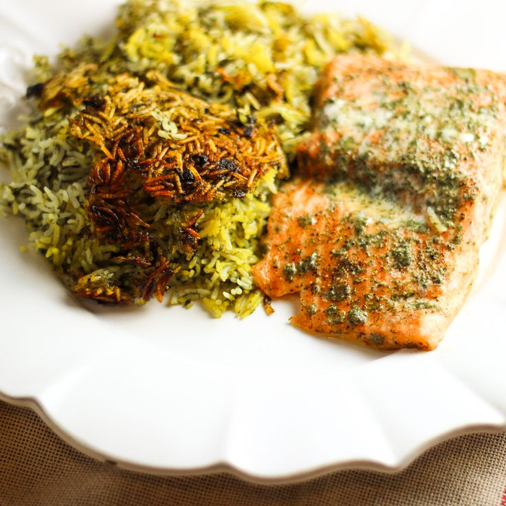 HERBED RICE AND SALMON - Deliciously fragrant, garlicky, and healthy. This is one of my favorite all time recipes.