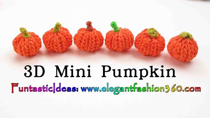 cool Rainbow Loom Pumpkin 3D mini Charms - Halloween-How to loom bands tutorial