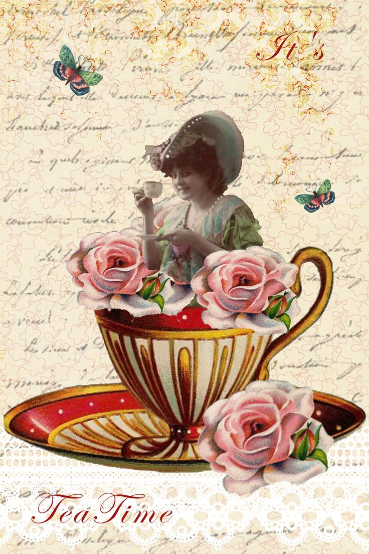Victorian tea party digital postcard collage petrab 39 s for Victorian tea party supplies