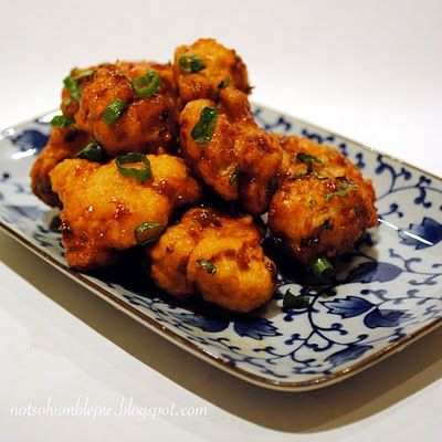 This is like a vegetarian hot wing. Florets of cauliflower, poached, battered and then fried. Tossed in a fiery sauce. As someone who loves spicy food, these satisfy with every sinus clearing bite
