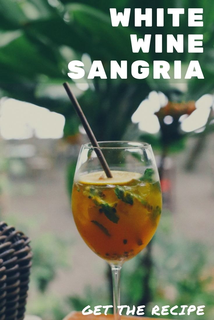 Recipe for one of our guest's favorite drinks! Try our white wine sangria at home. #sangria #recipe #cocktails