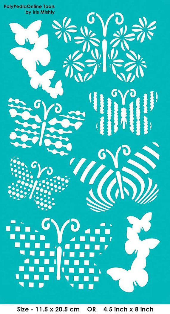 "Stencil Stencils Templates ""Small Butterflies"", self-adhesive, flexible, for polymer clay, fabric, wood, glass, card making"
