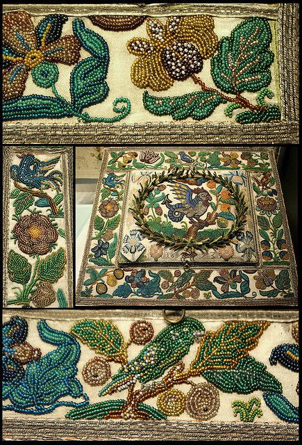 17C Beads embroidery Victoria and Albert Museum -British Galeries by Kotomicreations, via Flickr