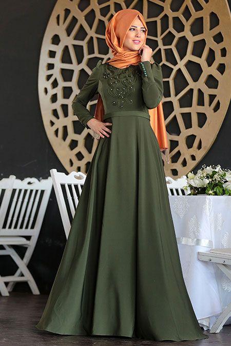 Nurkombin Haki Mahperi İncili Elbise - http://alisveris.yesiltopuklar.com/nurkombin-haki-mahperi-incili-elbise.html
